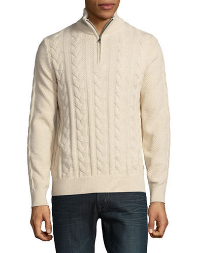 Nautica Cotton Knit Sweater-NATURAL-Medium