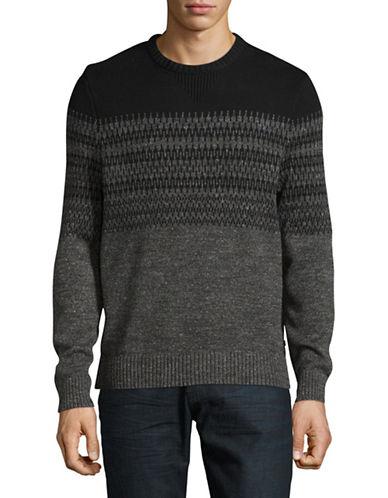 Nautica Patterned Cotton Knit Sweater-BLACK-Medium