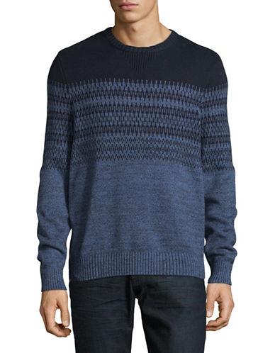 Nautica Patterned Cotton Knit Sweater-BLUE-Small