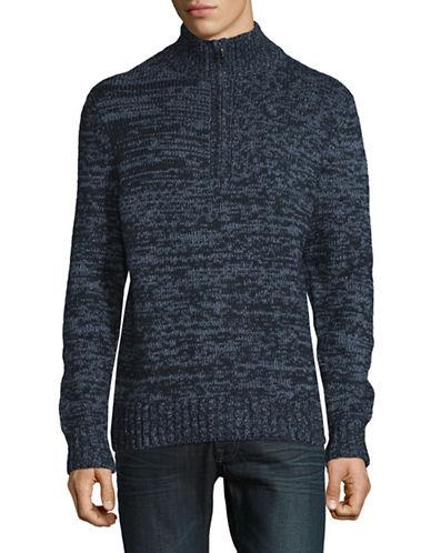 Nautica Marled Knit Sweater-BLUE-Large