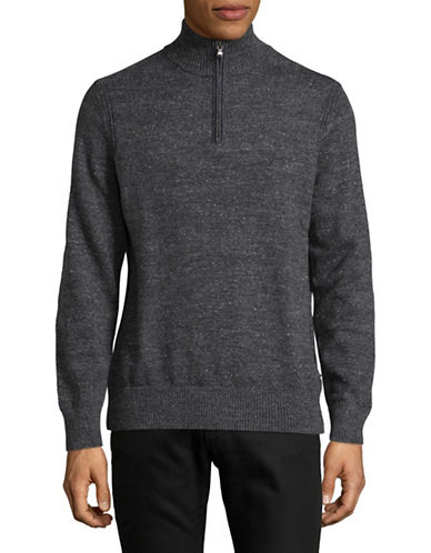 Nautica Jersey Cotton Sweater-TRUE BLACK-Medium