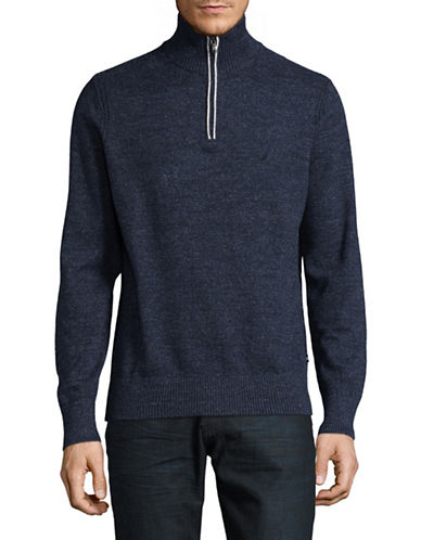 Nautica Ribbed Cotton Jersey Sweater-NAVY-Large