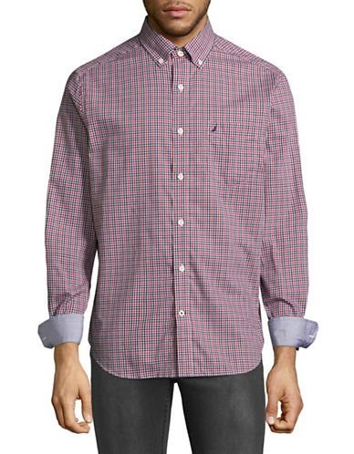 Nautica Checkered Sport Shirt-RED-X-Large