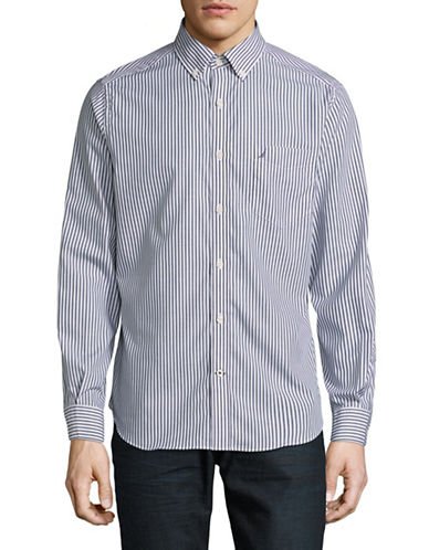 Nautica Stripe Button Front Shirt-NAVY-X-Large