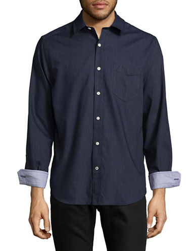 Nautica Dobby Dot Sport Shirt-NAVY-Small