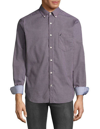 Nautica Poplin Sport Shirt-PURPLE-XX-Large