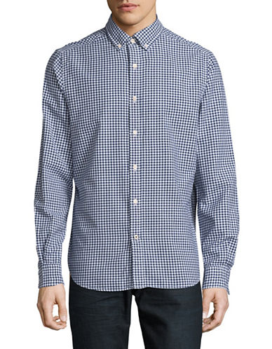 Nautica Gingham Button Front Shirt-BLUE-Large