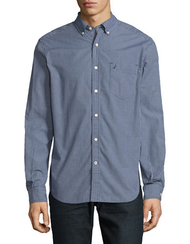 Nautica Gingham Sport Shirt-ESTATE BLUE-Medium