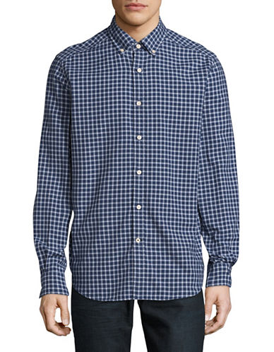 Nautica Oxford Plaid Button Front Shirt-BLUE-Small