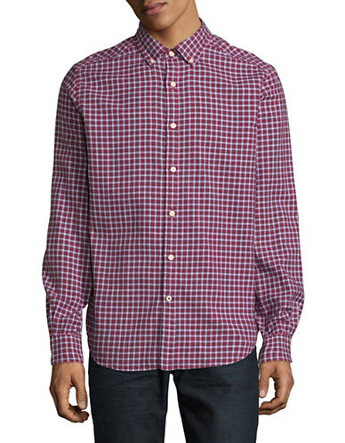 Nautica Oxford Plaid Button Front Shirt-RED-Small