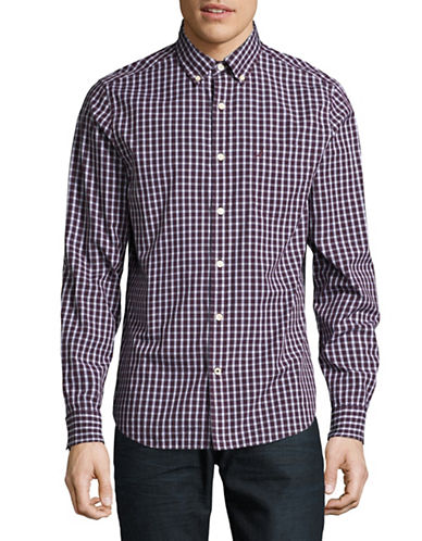 Nautica Check Cotton Sport Shirt-RED-X-Large