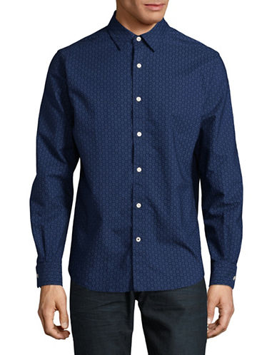 Nautica Classic Fit Medallion Oxford Sport Shirt-BLUE-Large