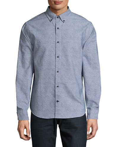 Nautica Long Sleeve Cotton Sport Shirt-BLUE-Large