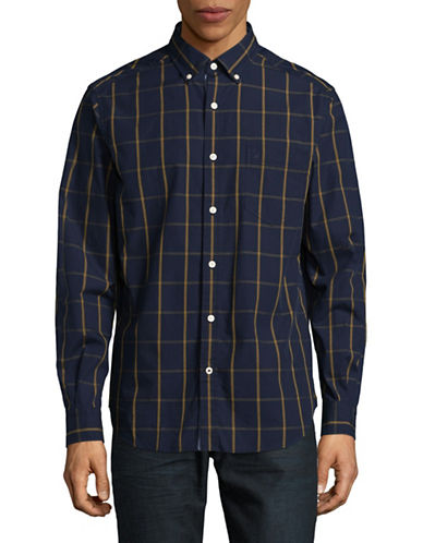 Nautica Pop Plaid Cotton Sport Shirt-MARTIME NAVY-Large
