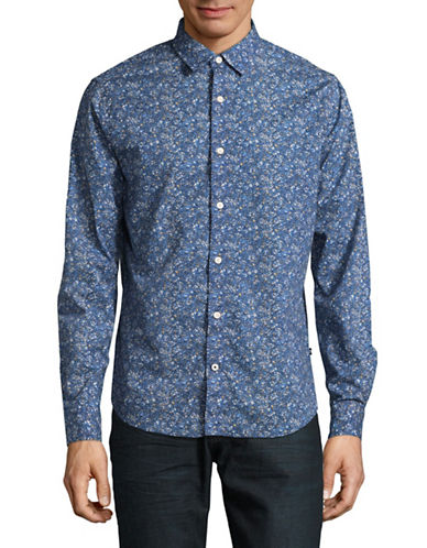 Nautica Pop Printed Cotton Sport Shirt-RIVIERA BLUE-X-Large