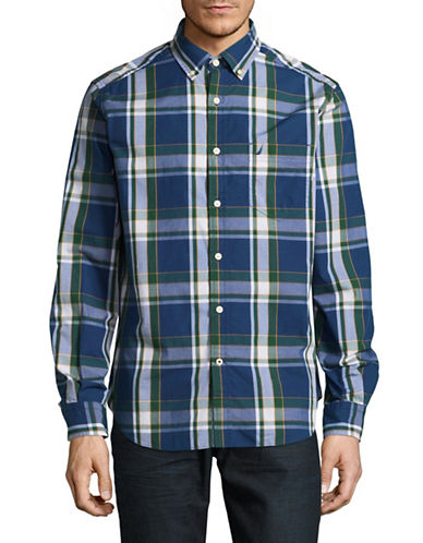 Nautica Plaid Sport Shirt-ESTATE BLUE-X-Large