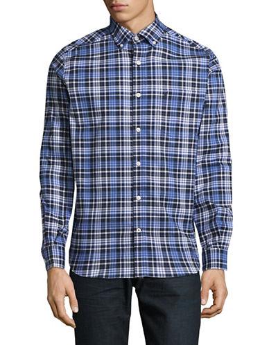 Nautica Plaid Sport Shirt-BLUE-Large