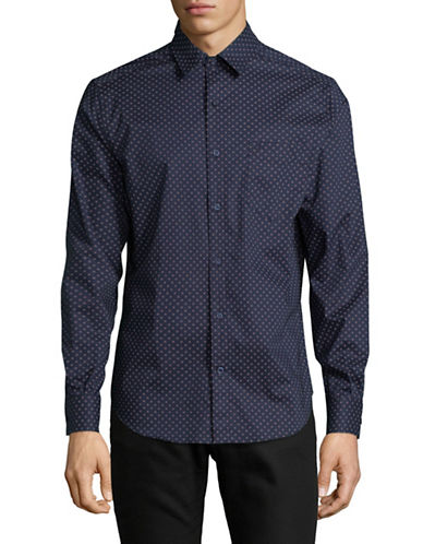 Nautica Square Patterned Sport Shirt-BLUE-X-Large