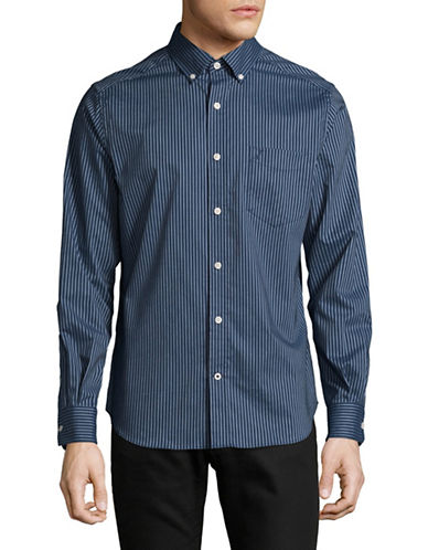 Nautica Stripe Cotton Sport Shirt-BLUE-Large