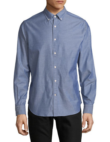 Nautica Textured Sportshirt-BLUE-X-Large