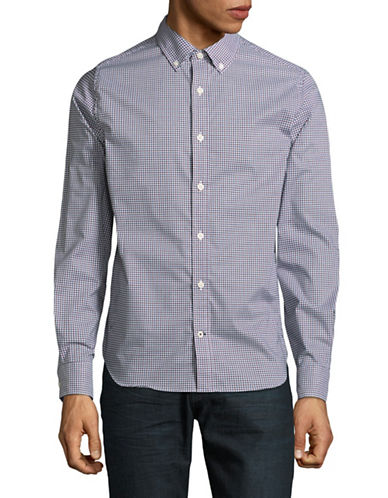 Nautica Crisscross Cotton Sport Shirt-BLUE-X-Large