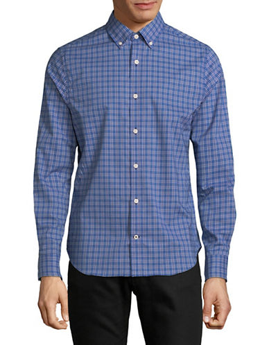 Nautica Plaid Sport Shirt-BLUE-Large