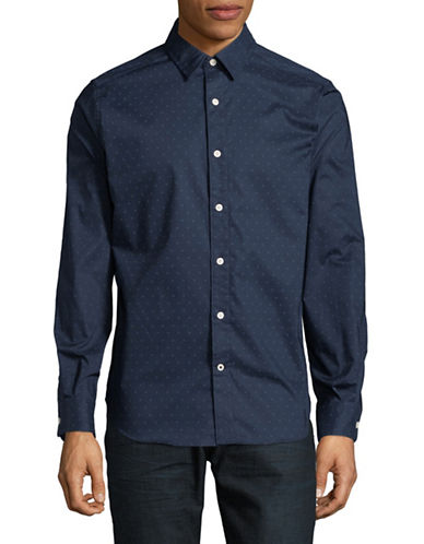 Nautica Solid Cotton-Blend Sport Shirt-BLUE-Large