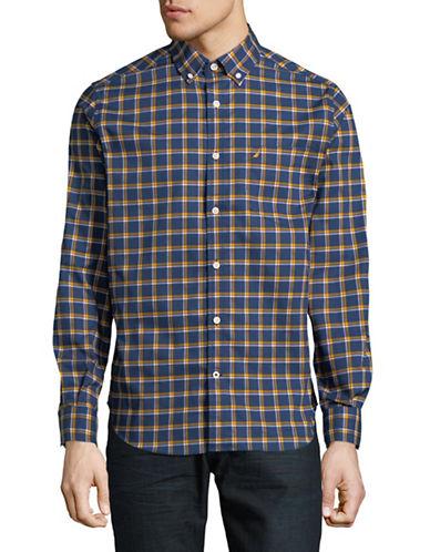 Nautica Cotton Plaid Sportshirt-GOLD-X-Large