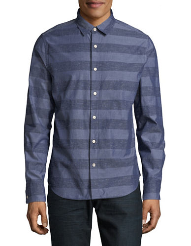 Nautica Cotton Striped Sportshirt-BLUE-Small