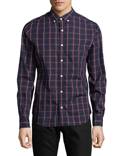 Nautica Cotton Checked Sportshirt-BLUE-Small