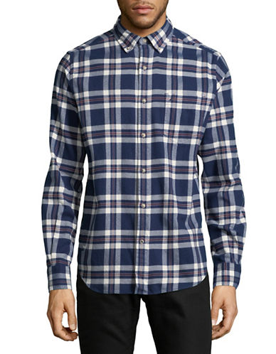 Nautica Cotton Checked Sportshirt-BLUE-Large
