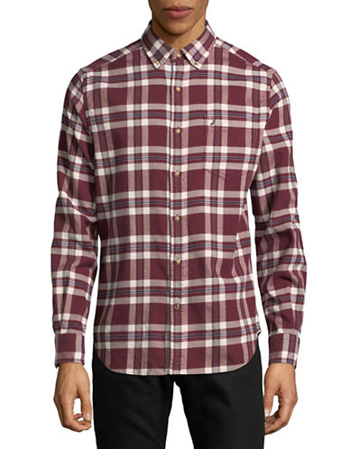 Nautica Cotton Checked Sportshirt-RED-Medium