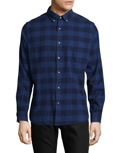 Nautica Checkered Cotton Sport Shirt-BLUE-X-Large