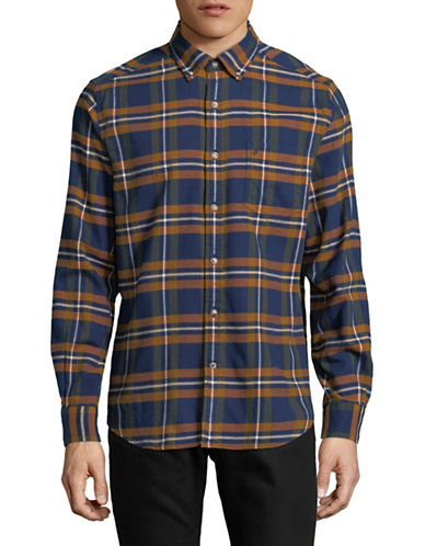 Nautica Cotton Plaid Sportshirt-BLUE-X-Large