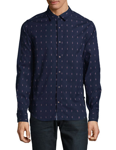 Nautica Print Button Front Shirt-MARINE BLUE-X-Large