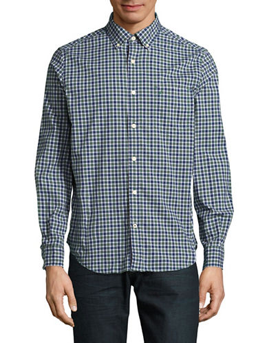 Nautica Mini Plaid Sport Shirt-HUNTER GREEN-Large