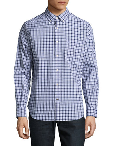 Nautica Plaid Stretch-Cotton Shirt-BLUE-Small