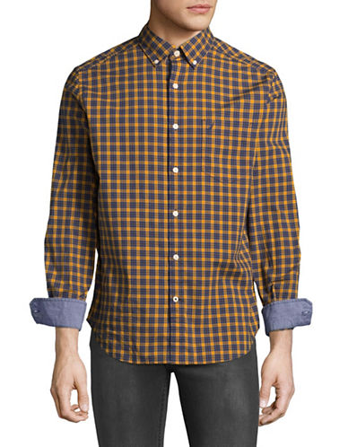Nautica Plaid Stretch Sport Shirt-BLUE-Large