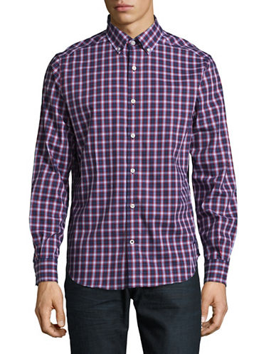 Nautica Classic Fit Wrinkle-Resistant Plaid Poplin Shirt-BLUE-Large