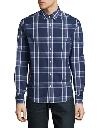 Nautica Plaid Sport Shirt-NAVY-Medium