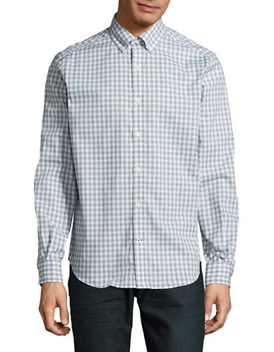 Nautica Classic-Fit Gingham Sport Shirt-GREEN-Large