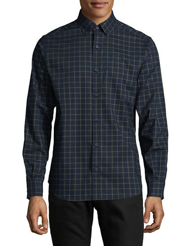Nautica Plaid Sport Shirt-MARTIME NAVY-Large