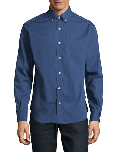 Nautica Stripe Poplin Sport Shirt-ESTATE BLUE-Medium