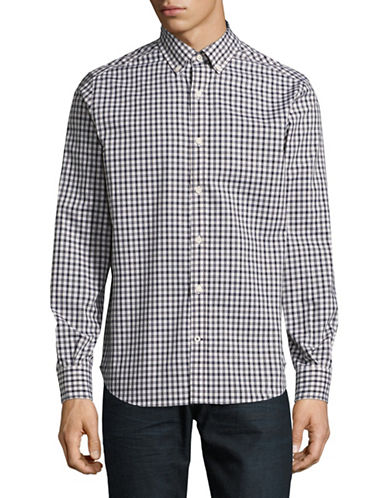 Nautica Classic-Fit Plaid Sport Shirt-MARTIME NAVY-Large