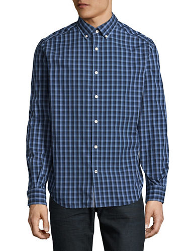 Nautica Classic-Fit Gradient Check Sport Shirt-NAVY-Large