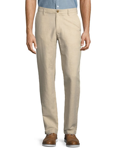 Nautica Classic Flat Front Linen-Cotton Pants-NATURAL-36X32