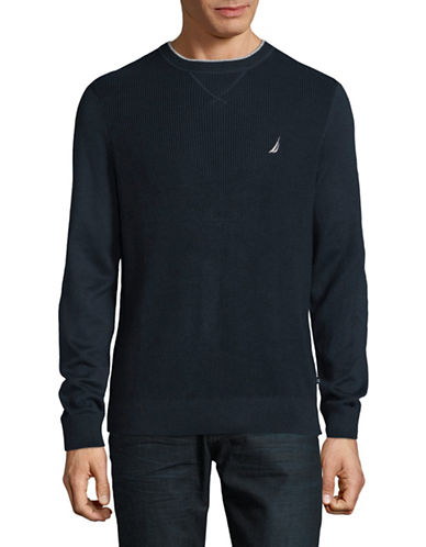 Nautica Solid Long Sleeve Sweater-TRUE NAVY-Large