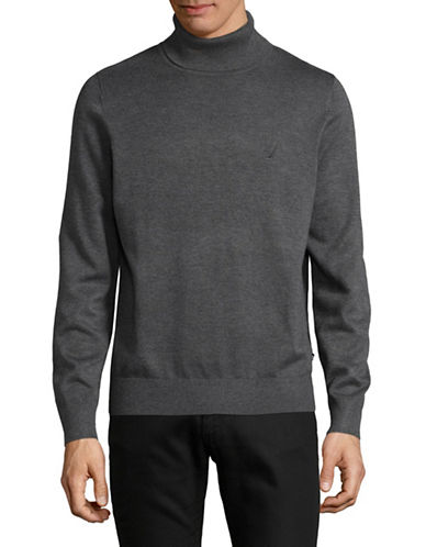 Nautica Heathered Turtleneck-CHARCOAL-X-Large