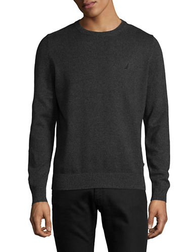 Nautica Cotton Jersey Sweater-CHARCOAL HEATHER-XX-Large