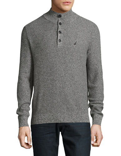 Nautica Mock Neck Quarter-Button Sweater-CHARCOAL-XX-Large